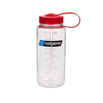 Nalgene Wide Mouth Water Bottle 16oz (White with Red Cap)