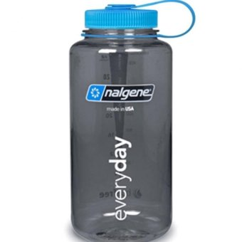 Nalgene Wide Mouth Water Bottle 32oz (Grey w/ Blue Cap)