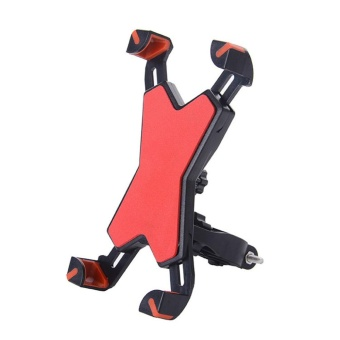 Phone Mount Holder Bicycle Motorcycle Stand for Smartphone (Red) - intl