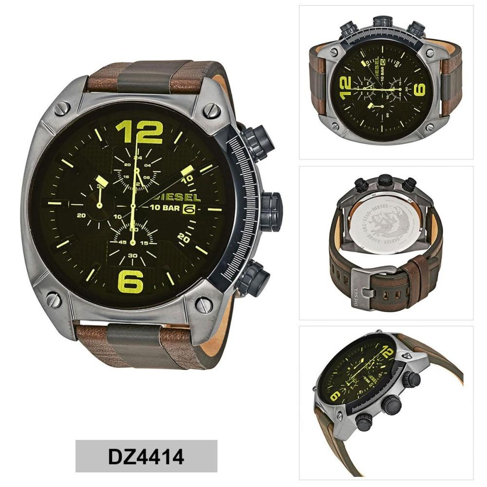 เชียงราย Authentic Diesel Overflow Chronograph Brown Stainless-Steel Case Leather Strap Mens DZ4414 2 Years Warranty