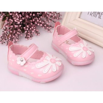 0-2 years Baby girls PU Leather Flats Toddler First Walker Princess Shoes Soft-soled With Flashing ...