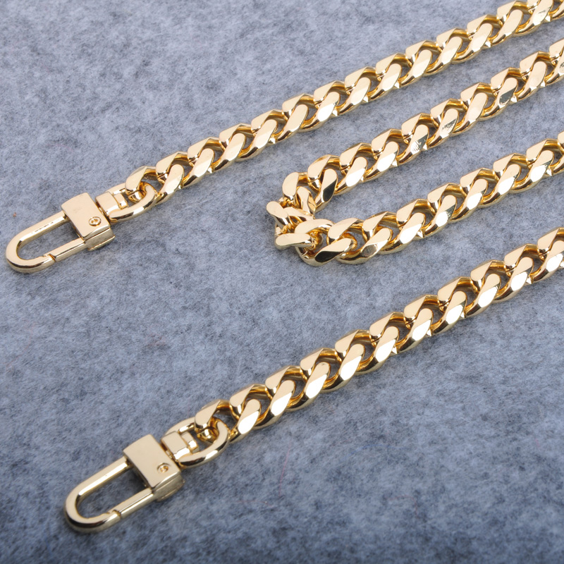 10mm metal package with bag chain accessories bag chain flat chain(Gun black 110cm with two button)