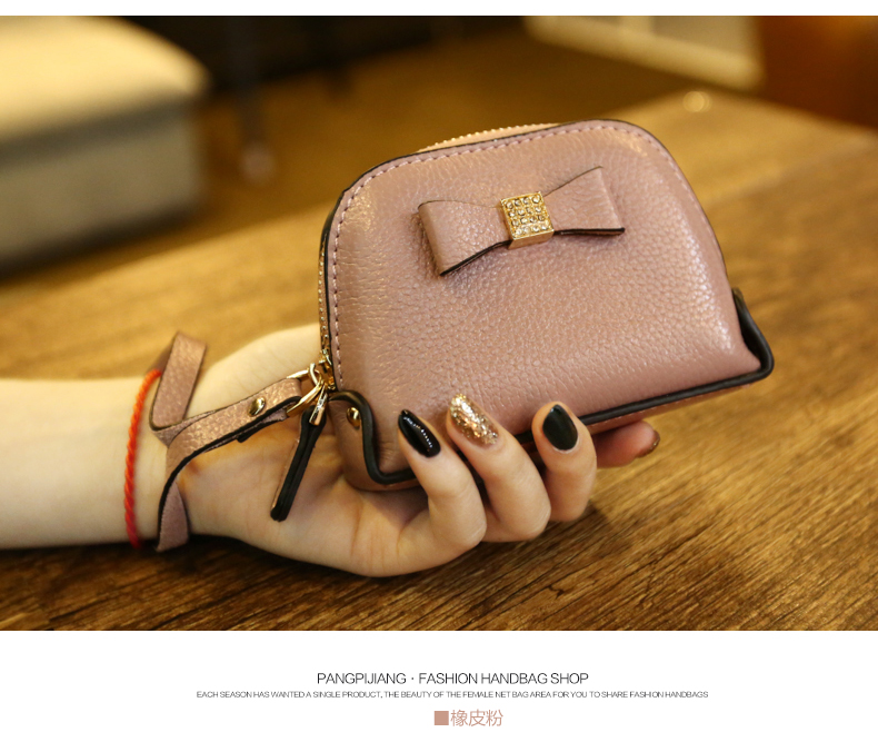 19.9 new spring and summer purse female cute bow mini shortparagraph small wallet key bag cosmetic bag