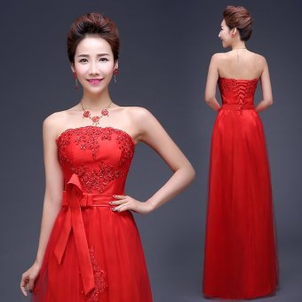 2015 new wedding dress red toast the bride wedding banquet eveningdress short paragraph long section of the show