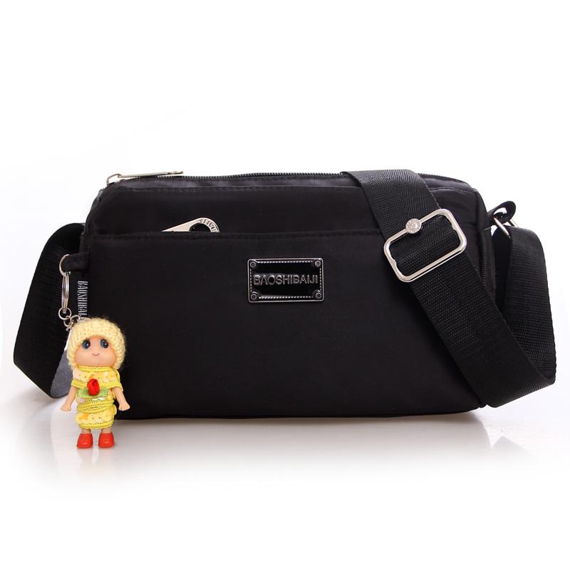 2016 Korean-style New style shoulder nylon cloth casual canvas multi-zip handbag durable Oxford Cloth Bag mobile phone bag (Black)