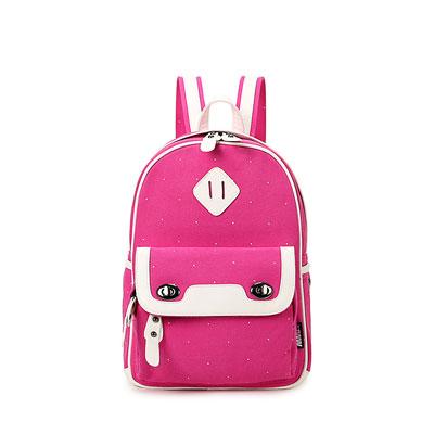 2016 new fashion polka dot canvas backpack student school bag fashion shoulder bag small shoulder bag casual handbag (Rose red)