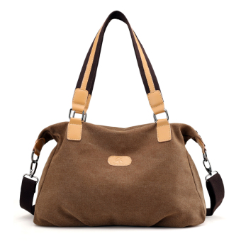 2017 art retro shoulder bag diagonal package canvas bag handbag fashion New style big bag casual canvas bag (Coffee color)