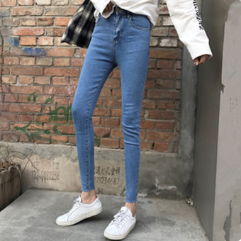2017 autumn new Slim fit Slimming effect stretch feet Korean-style high waisted pencil pants nine points jeans pants female student (Black gray) - 2