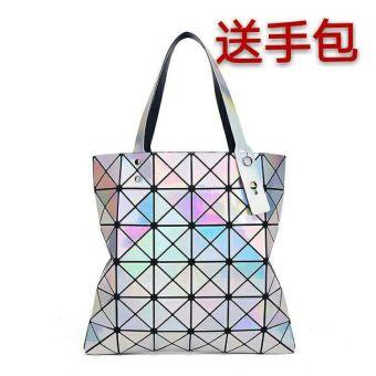 2017 Japan and South Korea summer New style folding variety handbag laser bag geometric bag quilted bag shoulder Portable Bag tide (9*9 silver High Version) - 2