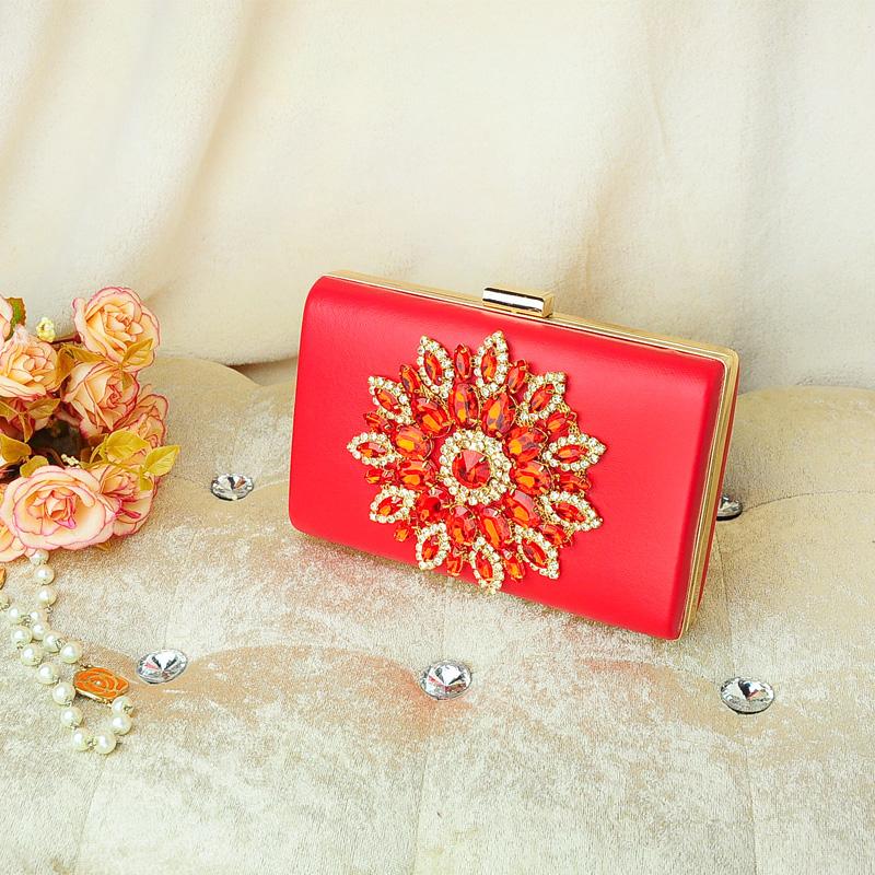2017 new ladies diamond bag diamond bridesmaid bag sun flower clutch bags evening bag female bag hand Take bag messenger bag (Red)