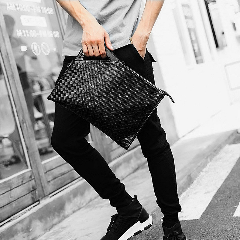 2017 New style Korean-style casual shoulder man bag camouflage woven Print tide male clutch bag clutch rivet pattern leather (Woven models new impulse collar coupons)