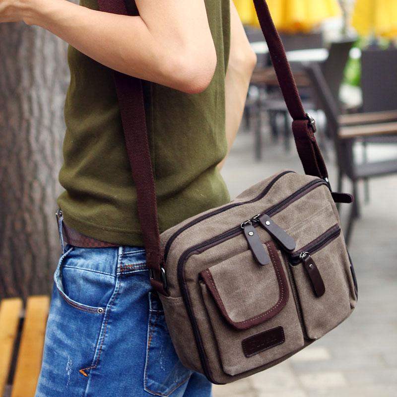 2017 New Style Men Canvas Bag Fashion Stylish Men'S Retro Shoulder Backpack Korean-Style Casual Messenger Bag (Coffee Color)