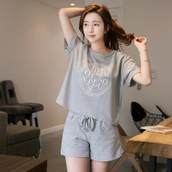 2017 running casual sports suit Female Summer Korean-style Plus-sized loose short-sleeved shorts sports clothing two-piece Sets (1573 gray)