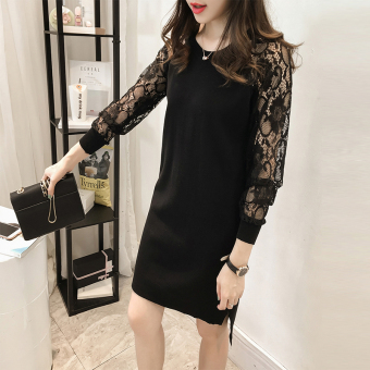 2017 Spring and Autumn Plus-sized Women's fat mm Slimming effect in the long section long-sleeved bottoming shirt female lace loose Top (Black)