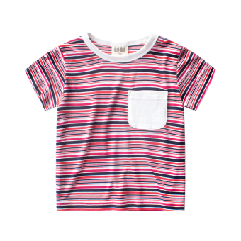 2017 summer striped boys summer children's Short sleeve baby round neck t-shirt Summer Hot short-sleeved New style men and children's clothing
