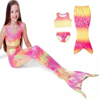 3Pcs Rainbow Mermaid Tail Swimsuit Set Girls Bikini Swimwear with Mermaid Tail 140 .