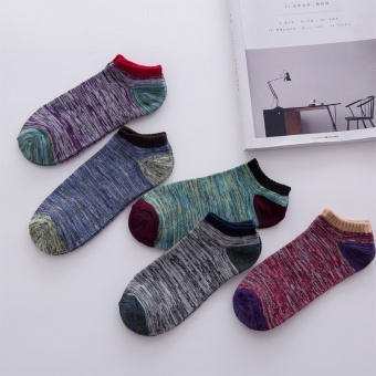 5 Pairs Men's Ankle No Show Casual Sport Cotton Socks Low Cut - intl