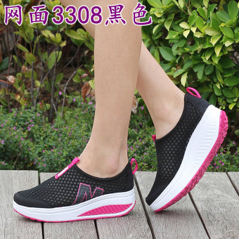 5cm spring and summer breathable elevator rocking shoes women's shoes (3308 black)