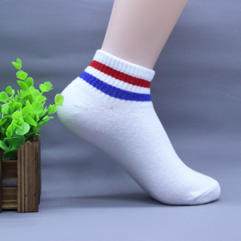 A320 cotton parallel bars socks (Short paragraph--white blue andred bars)