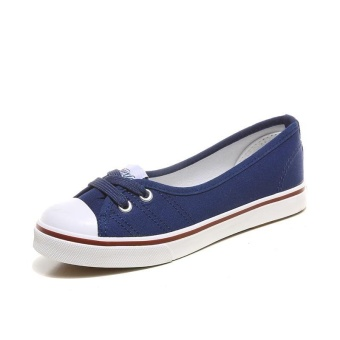 Ai Home Women Low Top Casual Flat Shoes Slip On Boat Canvas Loafers Sneakers (Blue) - intl