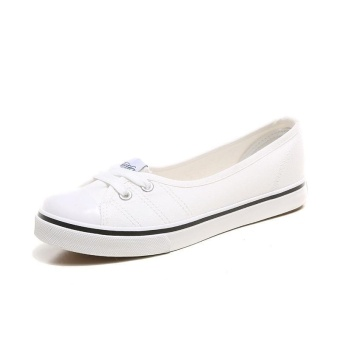Ai Home Women Low Top Casual Flat Shoes Slip On Boat Canvas Loafers Sneakers (White) - intl