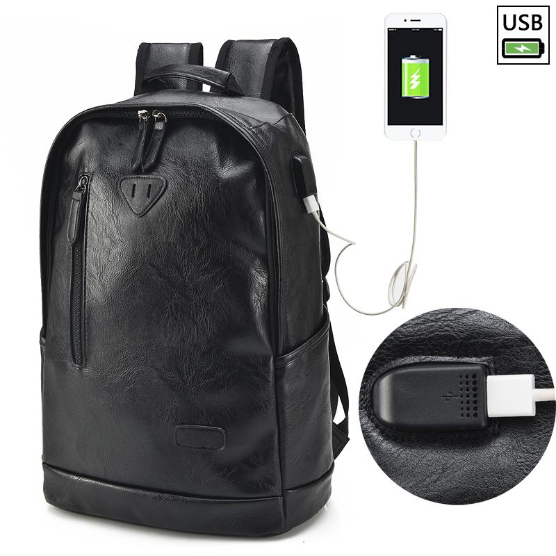 Aiguai Korean-style male student school bag casual shoulder bag (Black-upgrade USB external charging)