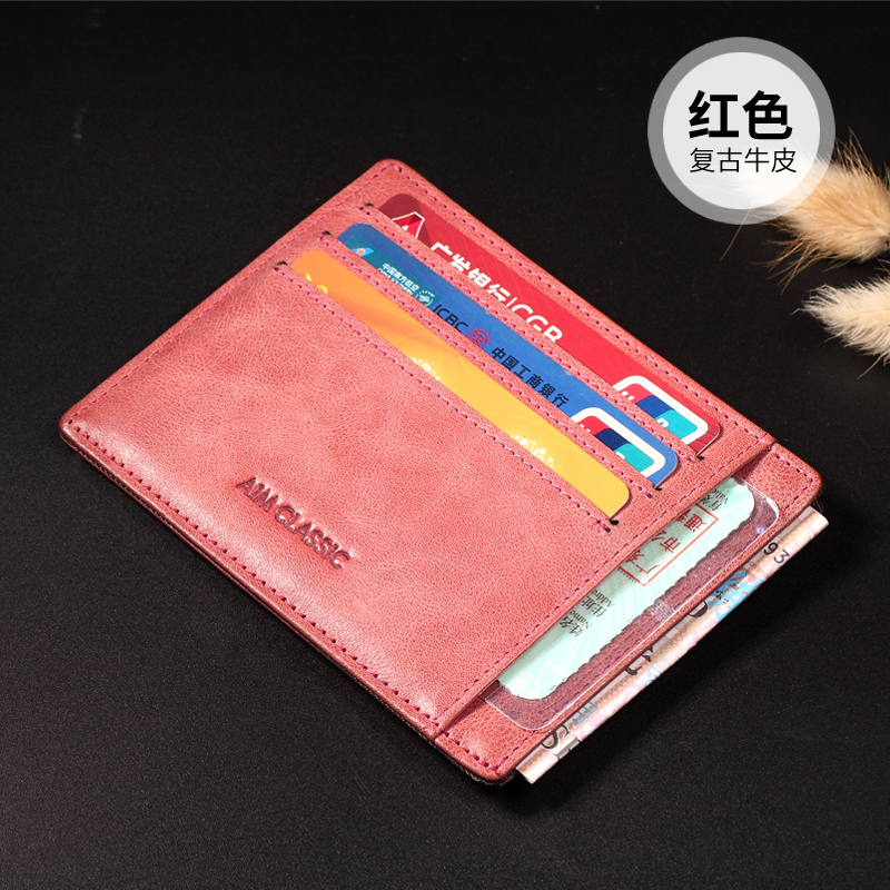 Aim leather men and women leather driver's license bank card holder (Oil Wax red)