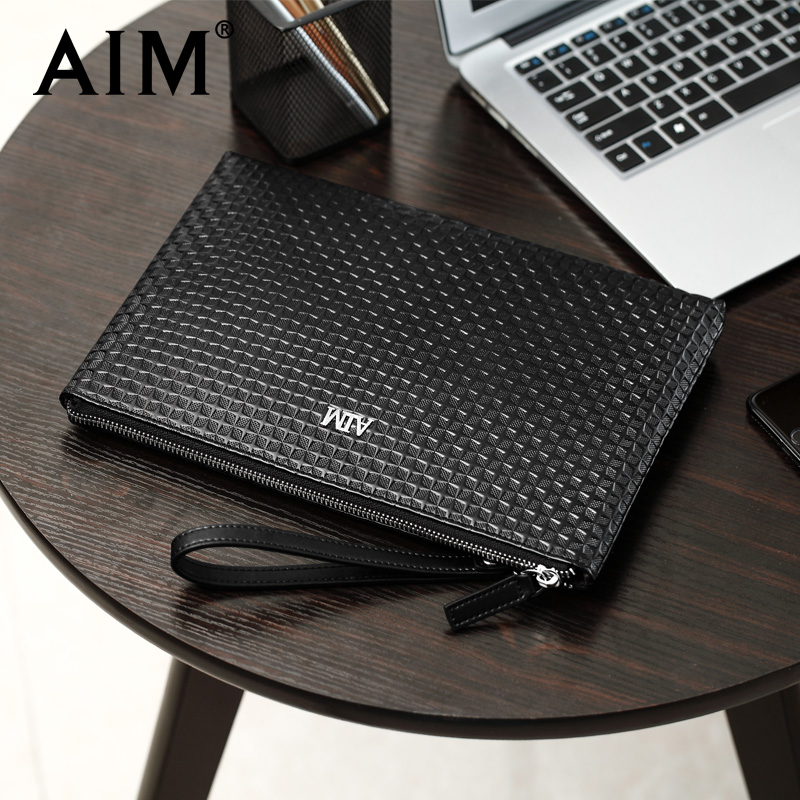 AimHan version of leather business envelope bag men's bag