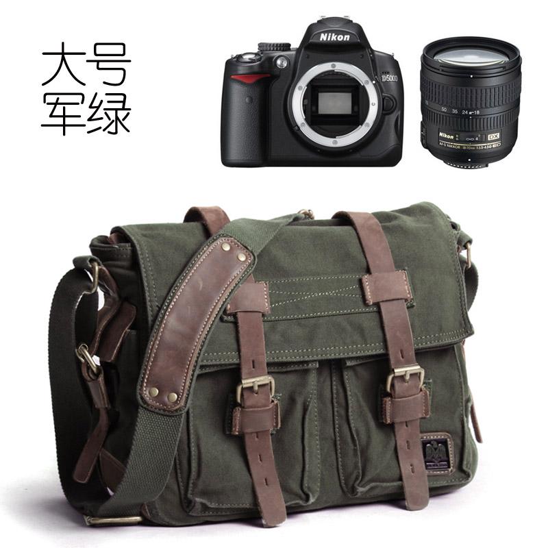 Akarmy casual canvas digital SLR shoulder camera bag waterproof camera bag (Dark green color 556 camera bag)