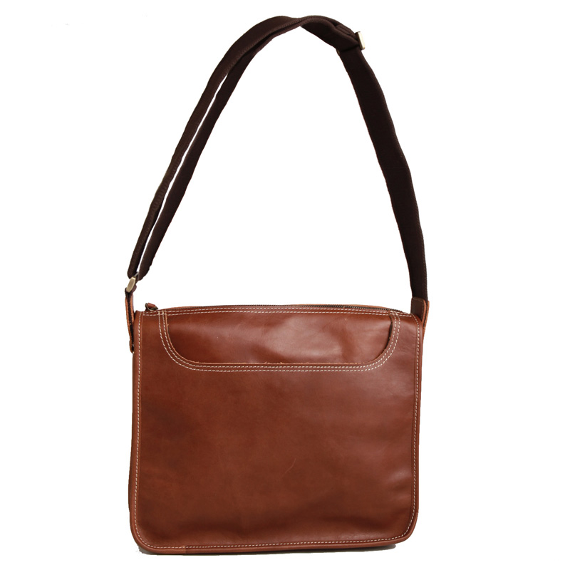 Akarmy casual leather first layer of men's backpack leather shoulder bag (P1740 Hong Brown)