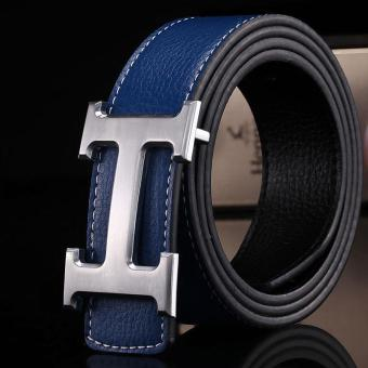 Harga Amart Genuine PU Leather H Smooth Buckle Belt for Men(Blue) - intl