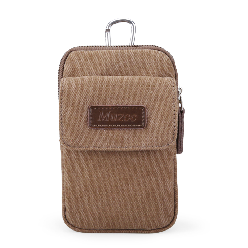 Animal husbandry of Yi 5.5-inch phone package men wear leather belt pockets casual canvas chest pack multi-purpose sports bag small bag (Light coffee color (with lid Section))