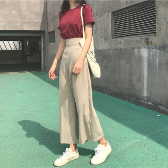 Autumn and Winter new Korean chic Retro was thin waist casual pants female pantyhose pants straight pants wide leg pants trousers tide (Beige)