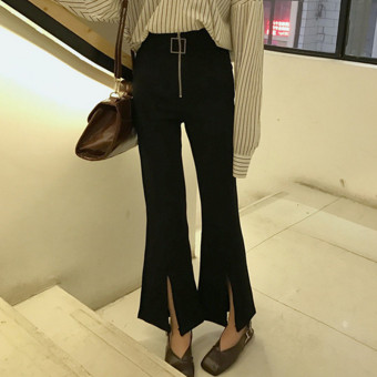 Autumn Korean-style chic style 2017 Women's wild high waist pantyhose pants speaker pants stretch slit casual pants