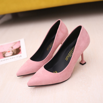 Autumn New style female pointed heel shoes high-heeled shoes (Pink color) (Pink color)