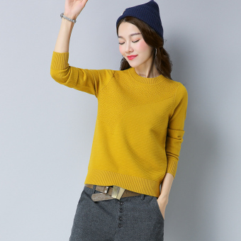 Autumn New style Top LOOESN knitted shirt (Ginger yellow)