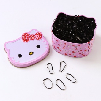 Baby Baobao small girl's rubber band hair band (Hello Kitty-black large)