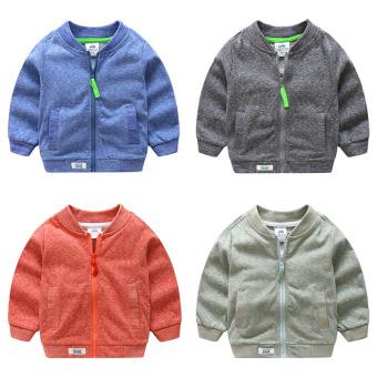 Baby collar long-sleeved jacket 2017 autumn and dress New style boy children's clothing children's zip baseball shirt wt-7758 (Green) - 2