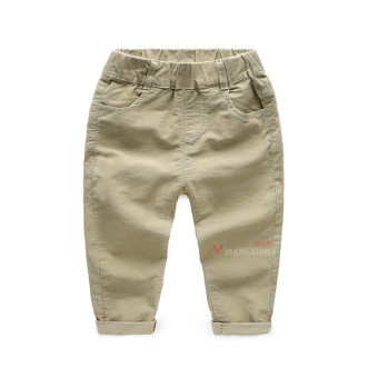 Baobao Korean-style solid New style cotton pants children's pants (Khaki cover striped Spring and Autumn casual pants)