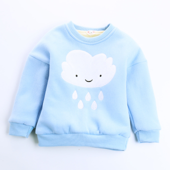 Baobao Plus velvet long-sleeved New style winter warm Top sweater (Light blue)