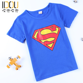 Batman boys children Xia shirt tide cotton short-sleeved t-shirt(Blue Superman short T)