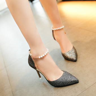 Beaded bracelet Female Summer pointed women's shoes high-heeled sandals (Black [8cm])