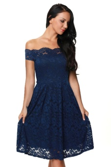 Harga Blue Plus Size Scalloped Off Shoulder Flared Lace Dress - intl