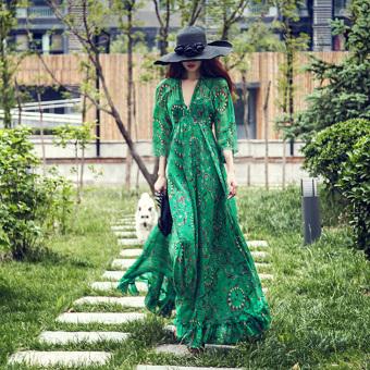 Bohemian New style chiffon strap dress (Green (fifth sleeve)) (Green (fifth sleeve))