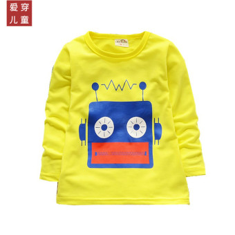 Boy's girls Spring and Autumn children's clothing long-sleeved Top T-shirt (Yellow [one-piece radio machine])