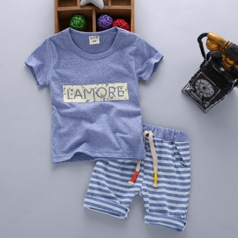 Boy's summer New style children's short sleeved suit (Summer cotton-blue)
