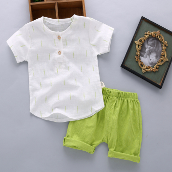 Boy's summer New style children's short sleeved suit (Summer leaves-green)