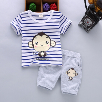 Boy's summer New style children's short sleeved suit (Summer monkey-blue)