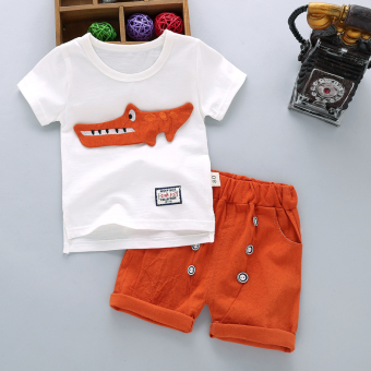 Boy's summer New style children's short sleeved suit (Summer predators-orange)