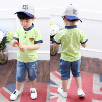 Boy's summer New style children's short sleeved suit (Xia Duo M-green)